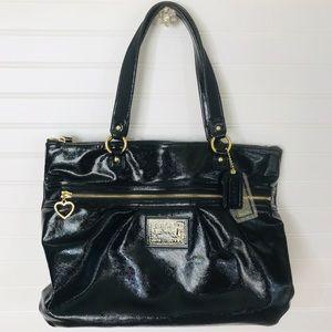 Coach Poppy Daisy Liquid Gloss Black Tote Bag EUC